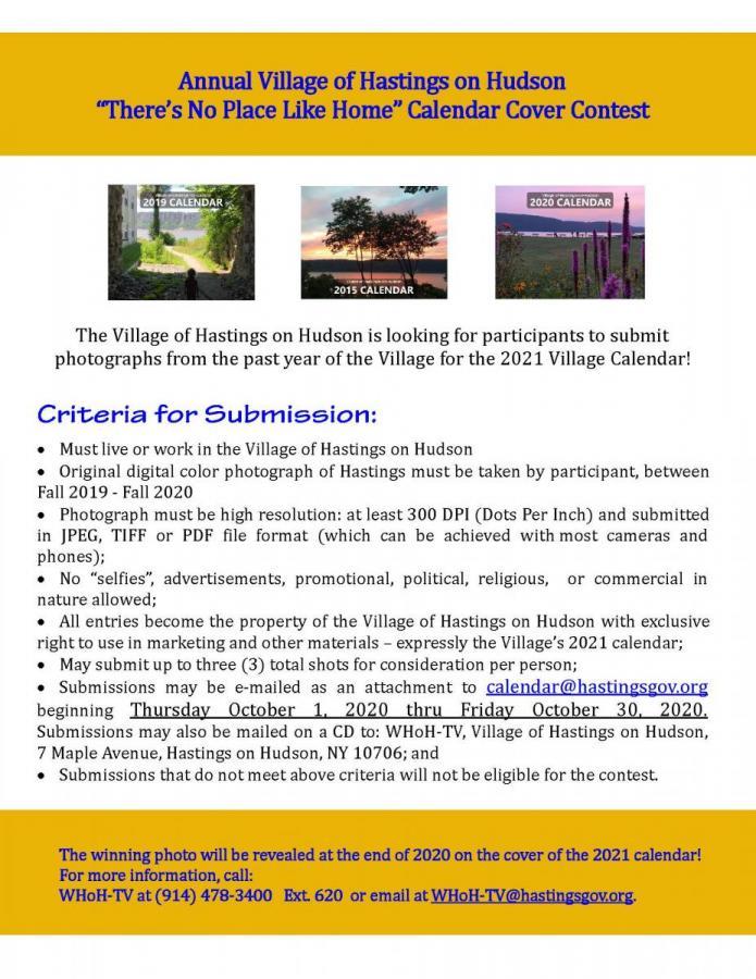 Alternate Side Parking Calendar 2021 Annual Village of Hastings on Hudson Calendar Cover Contest
